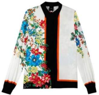 Idano - Floral Print Tartelette Shirt - T3 - White/Black/Red