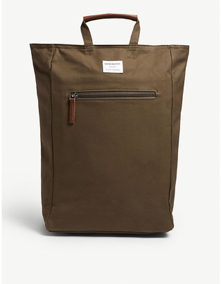 SANDQVIST Mens Olive Green Tony Ground Backpack