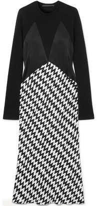Haider Ackermann Paneled Wool-jersey, Satin And Jacquard Midi Dress