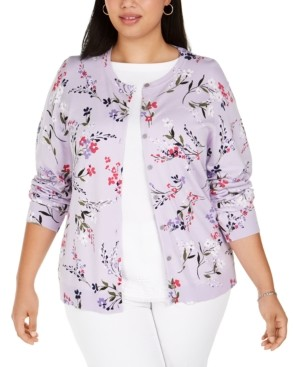 Karen Scott Plus Size Floral-Print Cardigan, Created For Macy's