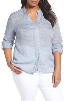 Nic+Zoe Plus Size Women's Drifty Woven Linen Shirt