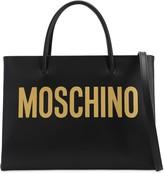 Moschino LOGO PRINTED LEATHER SHOULDER BAG