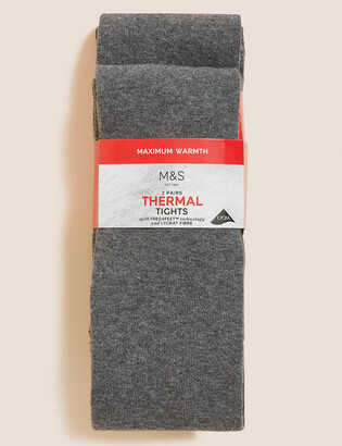 Marks and Spencer 2 Pack of Wool Thermal Tights (4-14 Yrs)