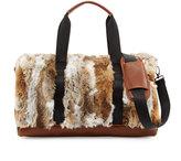 Adrienne Landau Rabbit Fur Nylon Duffle Bag, Brown