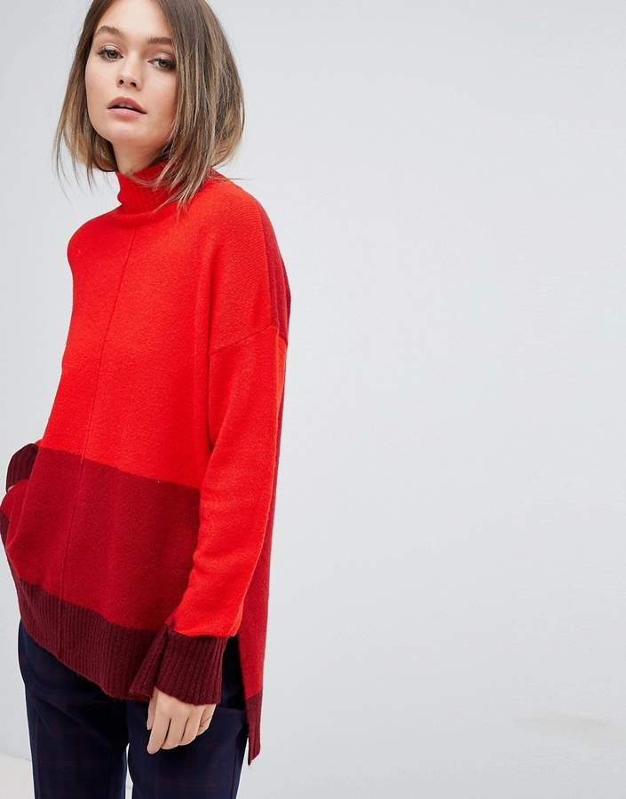Oasis High Neck Colourblock Jumper