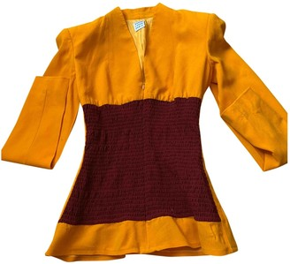Herve Leger Orange Leather Jacket for Women