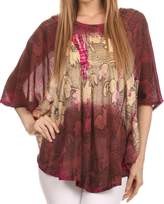 Sakkas 14031 - Ellesa Ombre Tie Dye Circle Poncho Blouse Shirt Top With Sequin Embroidery - OS