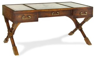 John-Richard Collection Campaign Glass Desk