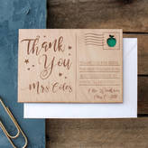 No Ordinary Gift Company Personalised 'Thank You Teacher' Wooden Post Card