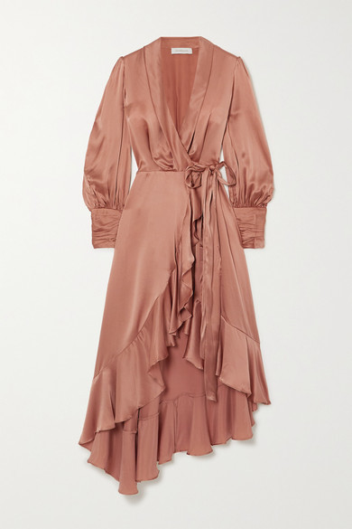 Zimmermann Asymmetric Ruffled Silk-satin Wrap Midi Dress - Tan