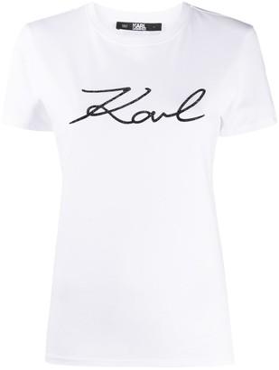 Karl Lagerfeld Paris logo print cotton T-shirt