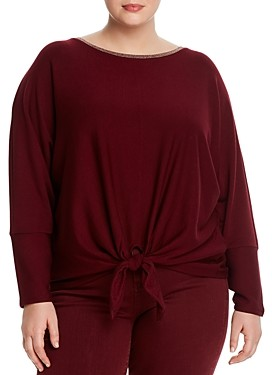 Cupio Plus Dolman-Sleeve Tie Hem Top