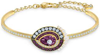 Swarovski Gold-Tone Crystal & Imitation Pearl Bangle Bracelet