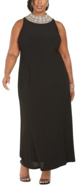 SL Fashions Plus Size Embellished Mock-Neck Gown