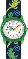 Timex Kid's T89001 Quartz Butterflies and Hearts Watch with White Dial Analogue Display and Blue Elastic Strap