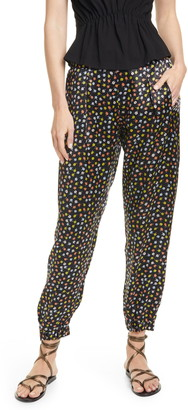 ATM Anthony Thomas Melillo Floral Print Silk Charmeuse Jogger Pants