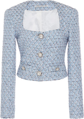 Alessandra Rich Cropped Sequined Tweed Jacket
