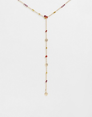 ASOS DESIGN long lariat necklace with summer jewels and hammered discs in gold tone