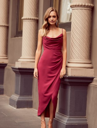 Forever New Holly Cowl Neck Midi Dress - Red Plum - 10
