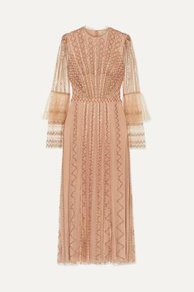 Temperley London Queenie Embellished Tulle Midi Dress - Beige