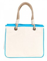 The Well Appointed House Natural Canvas Rope Tote with Turquoise Accents-Can Be Personalized