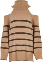 River Island Wobeige Stripe Roll Neck Cold Shoulder Jumper