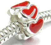 Queenberry Sterling Silver Enamel Endless Love Red Heart Bead For European Charm Bracelets