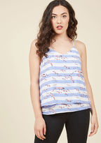 110421A Before your first shoreline sunrise comes the freeing feeling of slipping into this summery tank top! Pink-touched seagulls soar over this strappy shirt's white-and-periwinkle striped pattern, drawing attention to its loose silhouette and tiered hem. Now,
