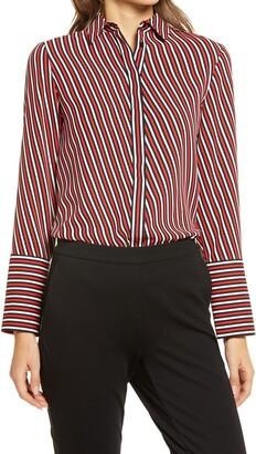 Anne Klein Stripe Oxford Shirt