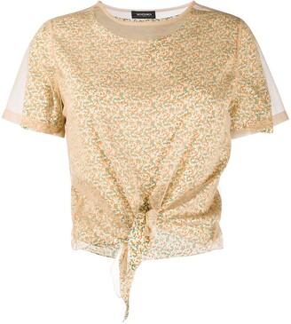Simonetta Ravizza mesh-panelled floral-print T-shirt
