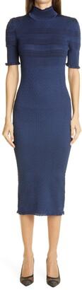 Fendi Ruffle Trim Smocked Silk Blend Body Con Dress