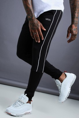 boohoo Mens Black MAN Tapered Jersey Jogger With Side Piping, Black