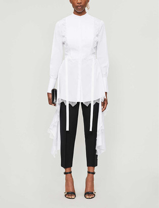 Alexander McQueen Asymmetric-hem lace-trimmed cotton shirt