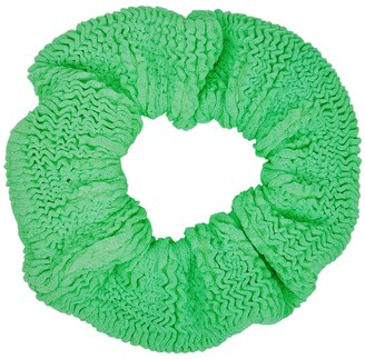 Hunza G Neon Green Seersucker Scrunchie