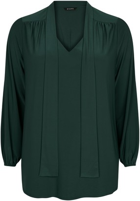 Evans Green Pussy Bow Blouse