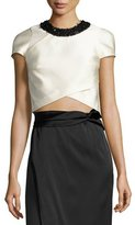 3.1 Phillip Lim Cap-Sleeve Satin Overlay Cropped Top, Ivory