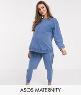 Asos DESIGN Maternity tracksuit ultimate sweat / jogger in acid wash
