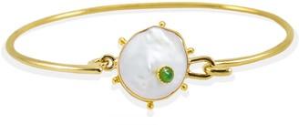 Vintouch Italy Rebel Rebel Pearl & Emerald Cuff Bracelet