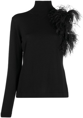 P.A.R.O.S.H. feather embellished asymmetric jumper