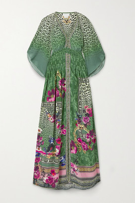Camilla Crystal-embellished Printed Silk-crepe Maxi Dress - Dark green