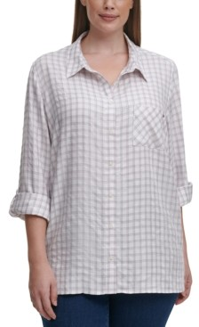 Tommy Hilfiger Plus Size Printed Roll-Tab-Sleeve Top
