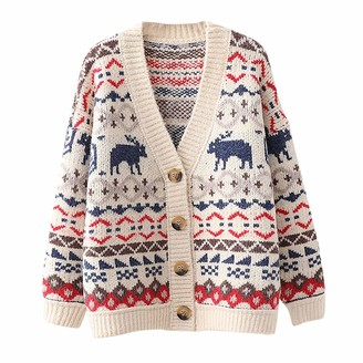 Rikay Women Jumper Rikay Womens Christmas Cardigan Ladies Long Sleeve Button Tops Reindeer Chunky Knitted Grandad Sweater Xmas Jumpers White