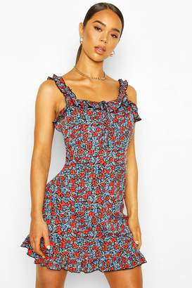 boohoo Floral Ruffle Strap Lace Up Mini Dress