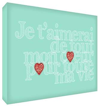 story. Feel Good Art I'll Love You with All My Heart for My Whole Life Acrylic Decorative Block Mint Green 7.4 x 10.5 x 2 cm