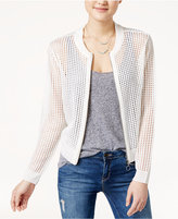 Ultra Flirt Juniors' Mesh Sweater Bomber