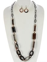 Ruby Imports TURTOIS LUCITE STONE CHUNKY CHAIN NECKLACE SET