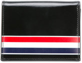 Thom Browne Double Card Holder With Red, White And Blue Printed Stripe In Calf Leather