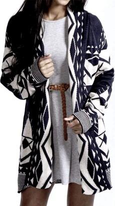 GirlzWalk Women's Aztec Tribal Print Outwear Sweater Ladies Knitted Boyfriend Cardigan - Multicolored - Small