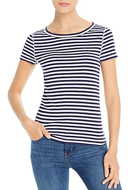 Three Dots Breckenridge Striped Short-Sleeve Tee