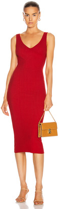 Enza Costa for FWRD Mini Rib Sweater Knit Tank Midi Dress in Tomato | FWRD